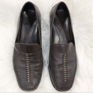Cole Haan Brown Stitched Toe Leather Loafers